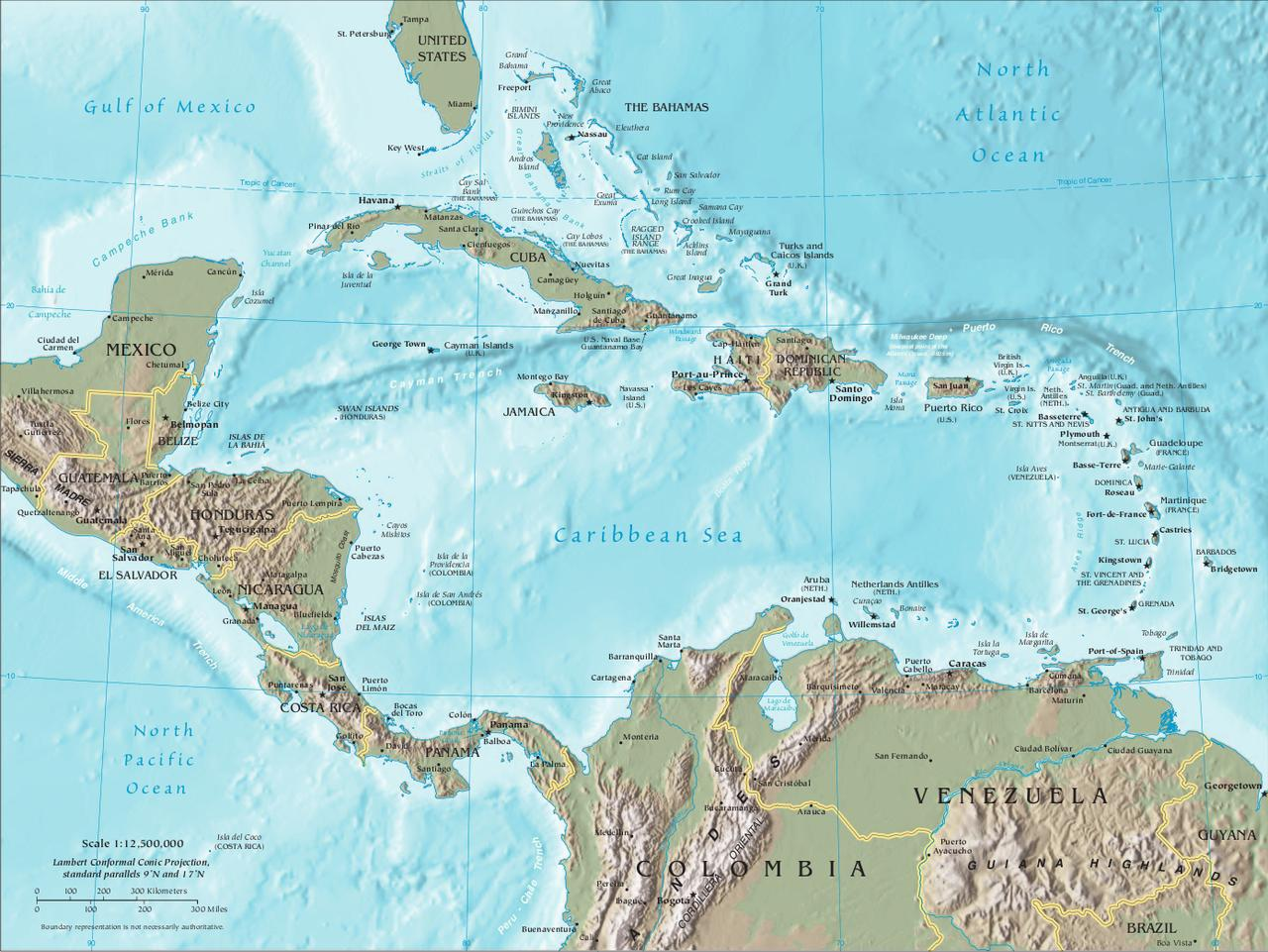 Labeled Map of Central America And The Caribbean Map of Central America