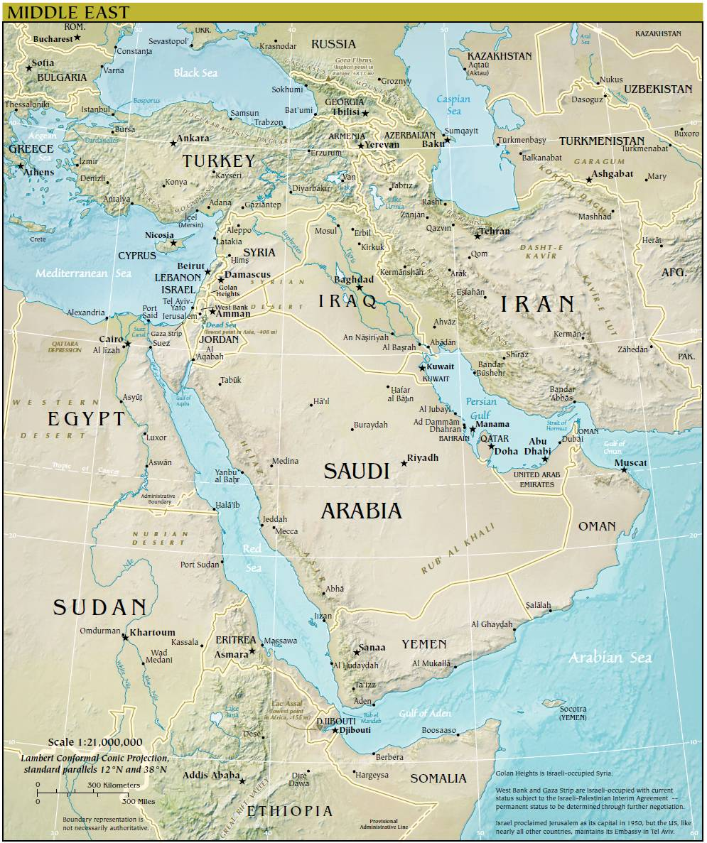 Middle East Map Sahara Desert Large Map of Middle East