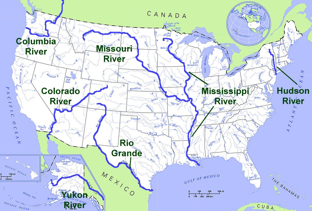 Geography for Kids: United States MAP OF USA RIVERS