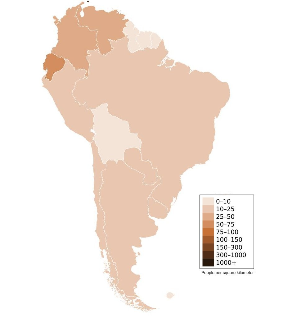 'Population Density (click for larger)' from the web at 'http://www.ilibrarian.net/flagmaps/south_america_population_density_map.jpg'
