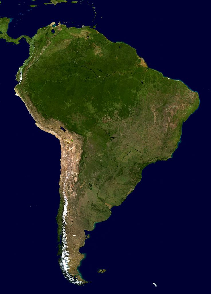 'Satellite Map (click for larger)' from the web at 'http://www.ilibrarian.net/flagmaps/south_america_satellite_map.jpg'